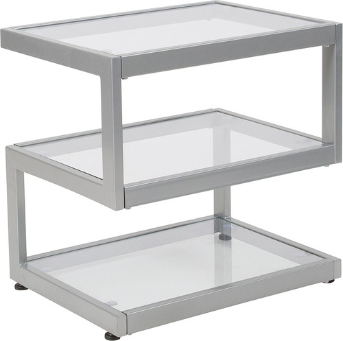 Ashmont Collection Glass End Table with Contemporary Steel Design