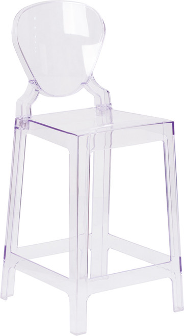 Ghost Counter Stool with Tear Back in Transparent Crystal