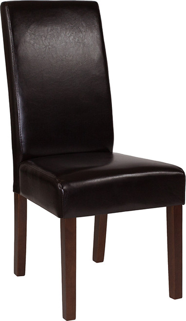 Greenwich Series Brown Leather Parsons Chair