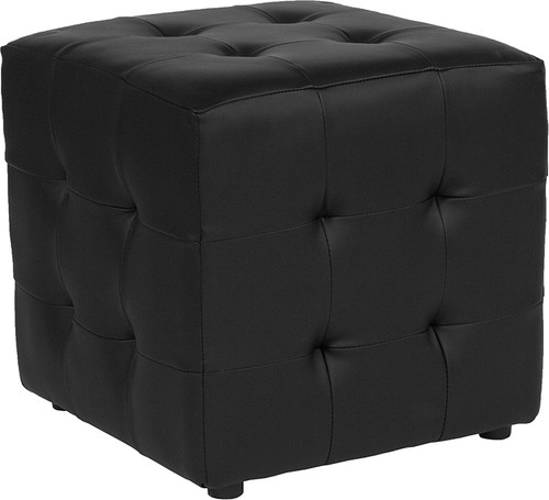 Avendale Tufted Upholstered Ottoman Pouf in Black Leather