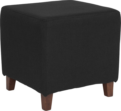 Ascalon Upholstered Ottoman Pouf in Black Fabric