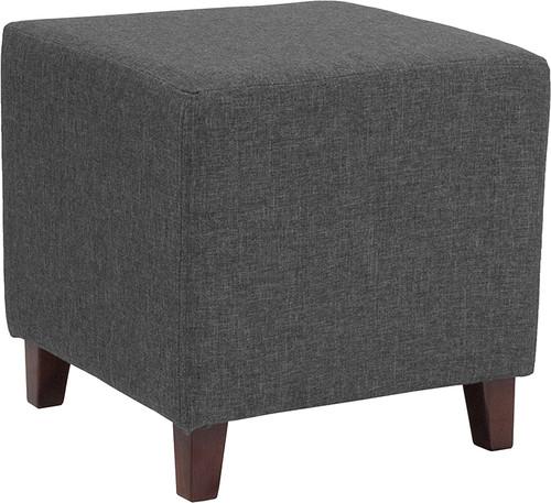 Ascalon Upholstered Ottoman Pouf in Dark Gray Fabric