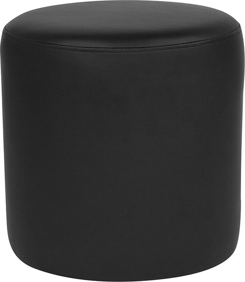 Barrington Upholstered Round Ottoman Pouf in Black Leather