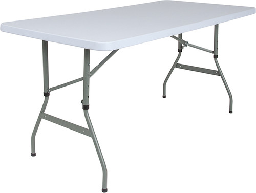 30''W x 60''L Height Adjustable Granite White Plastic Folding Table