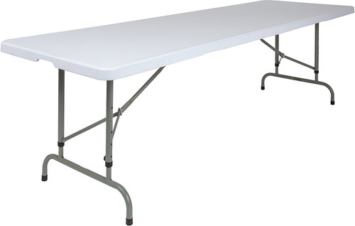 30''W x 96''L Height Adjustable Granite White Plastic Folding Table