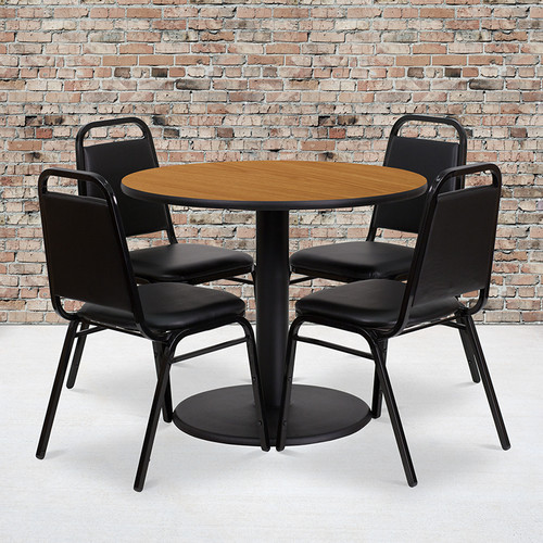 36'' Round Natural Laminate Table Set with Round Base and 4 Black Trapezoidal Back Banquet Chairs