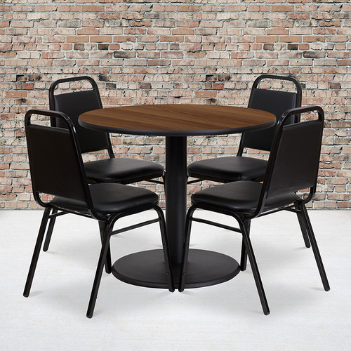 36'' Round Walnut Laminate Table Set with Round Base and 4 Black Trapezoidal Back Banquet Chairs