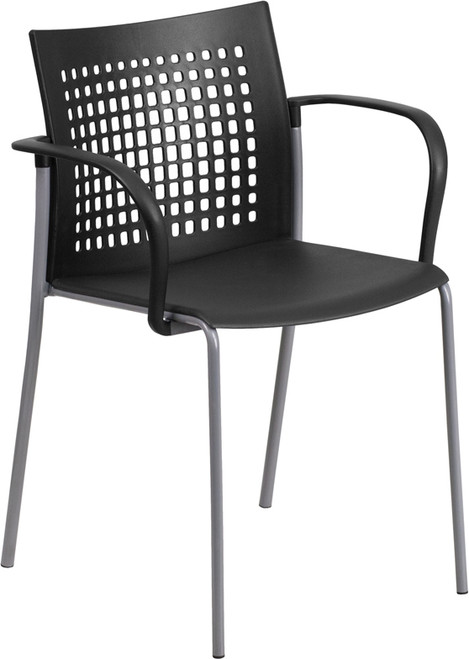 TYCOON Series 551 lb. Capacity Black Stack Chair with Air-Vent Back and Arms