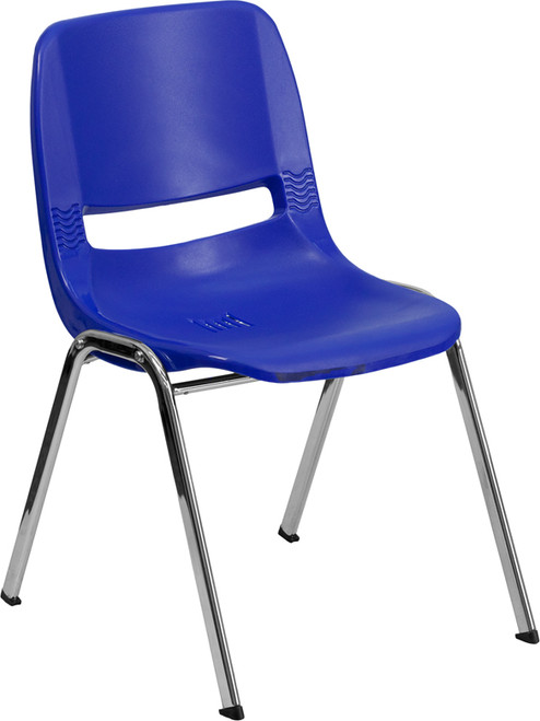 TYCOON Series 880 lb. Capacity Navy Ergonomic Shell Stack Chair with Chrome Frame and 18'' Seat Height