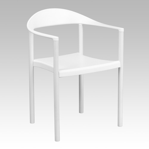 TYCOON Series 1000 lb. Capacity White Plastic Cafe Stack Chair
