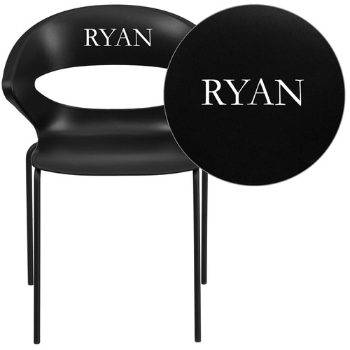 Personalized TYCOON Series 440 lb. Capacity Black Stack Chair