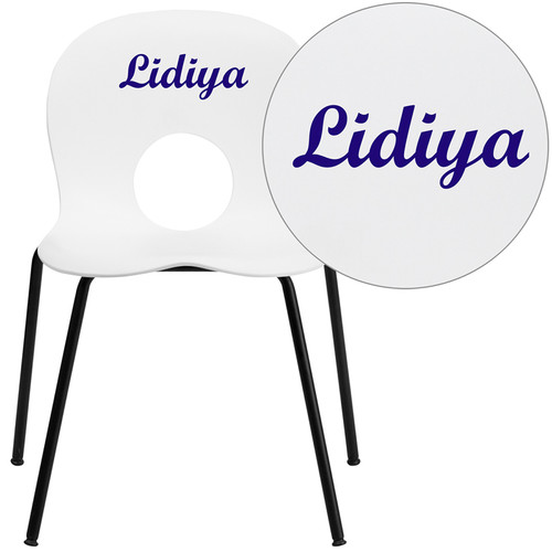Personalized TYCOON Series 770 lb. Capacity Designer White Plastic Stack Chair with Black Frame
