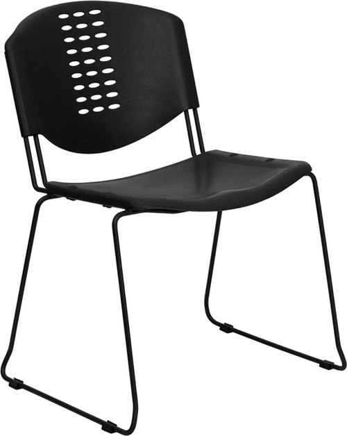 TYCOON Series 400 lb. Capacity Black Plastic Stack Chair with Black Frame