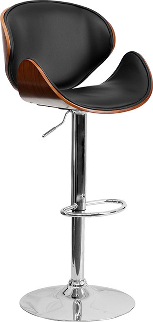Walnut Bentwood Adjustable Height Barstool with Curved Back and Black Vinyl Seat