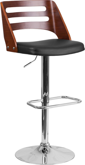 Phenomenal Walnut Bentwood Adjustable Height Barstool With Side Panel Pabps2019 Chair Design Images Pabps2019Com