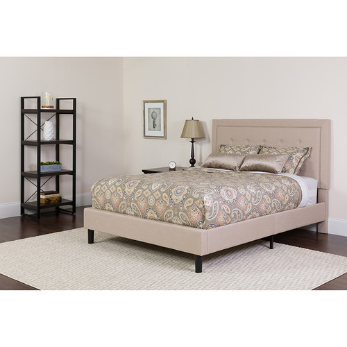 Roxbury Queen Size Tufted Upholstered Platform Bed in Beige Fabric with Memory Foam Mattress