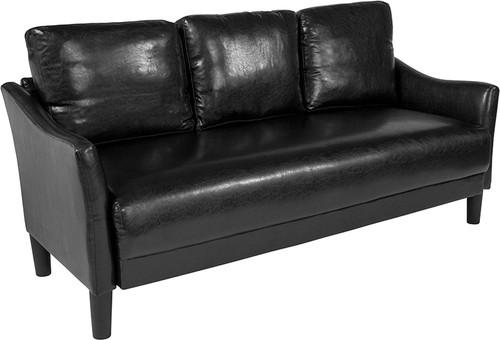 Asti Upholstered Sofa in Black Leather