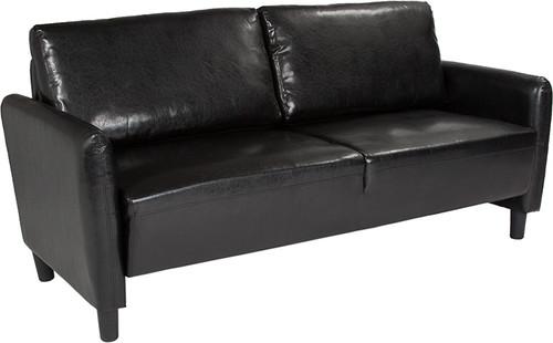 Candler Park Upholstered Sofa in Black Leather