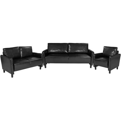 Candler Park 3 Piece Upholstered Set in Black Leather