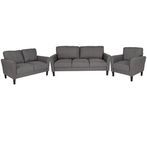 Bari 3 Piece Upholstered Set in Dark Gray Fabric