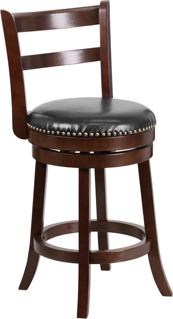 26'' High Cappuccino Wood Counter Height Stool with Single Slat Ladder Back and Black Leather Swivel Seat