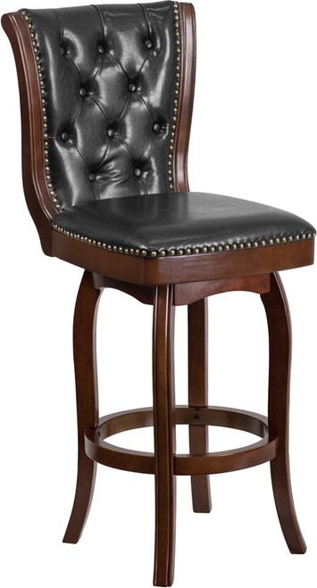 30'' High Cappuccino Wood Barstool with Button Tufted Back and Black Leather Swivel Seat