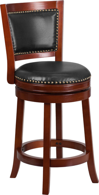 26'' High Dark Cherry Wood Counter Height Stool with Open Panel Back and Walnut Leather Swivel Seat