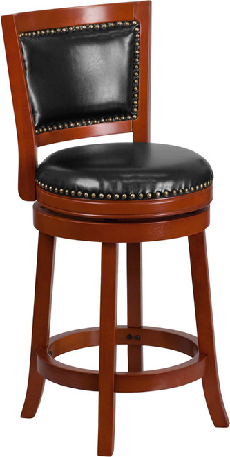 26'' High Light Cherry Wood Counter Height Stool with Open Panel Back and Black Leather Swivel Seat