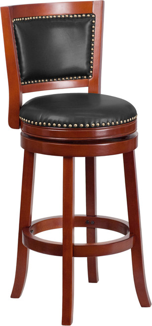 30'' High Dark Cherry Wood Barstool with Open Panel Back and Walnut Leather Swivel Seat