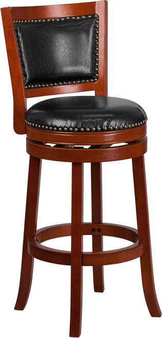 30'' High Light Cherry Wood Barstool with Open Panel Back and Black Leather Swivel Seat