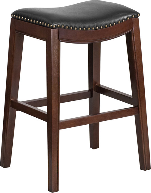 30'' High Backless Cappuccino Wood Barstool with Black Leather Saddle Seat