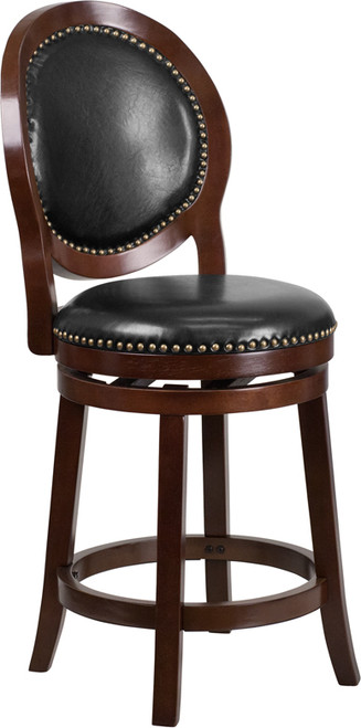 26'' High Cappuccino Counter Height Wood Stool with Oval Back and Black Leather Swivel Seat