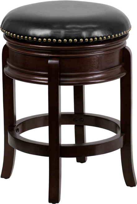 24'' High Backless Cappuccino Wood Counter Height Stool with Carved Apron and Black Leather Swivel Seat