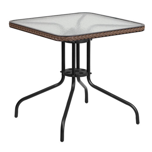28'' Square Tempered Glass Metal Table with Dark Brown Rattan Edging