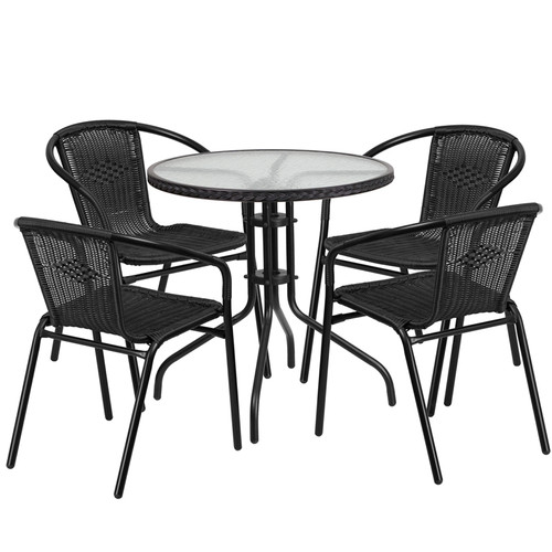 28'' Round Glass Metal Table with Black Rattan Edging and 4 Black Rattan Stack Chairs
