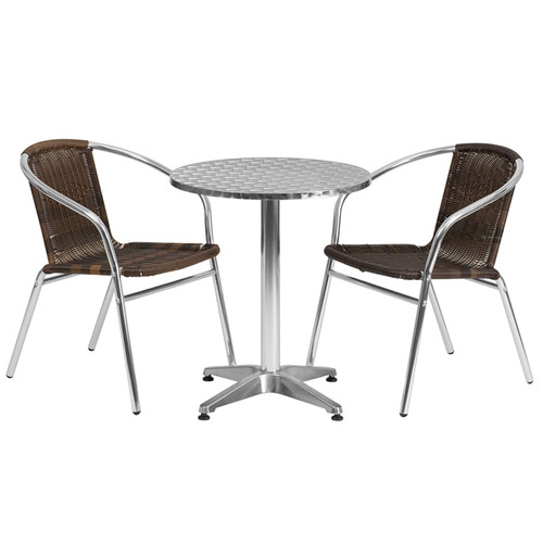 23.5'' Round Aluminum Indoor-Outdoor Table Set with 2 Dark Brown Rattan Chairs