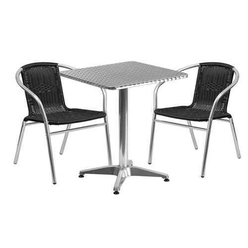 23.5'' Square Aluminum Indoor-Outdoor Table Set with 2 Black Rattan Chairs