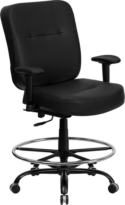 TYCOON Series Big & Tall 400 lb. Rated Black Leather Ergonomic Drafting Chair with Adjustable Arms