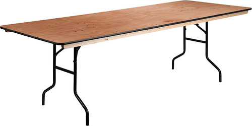 36'' x 96'' Rectangular Wood Folding Banquet Table with Clear Coated Finished Top