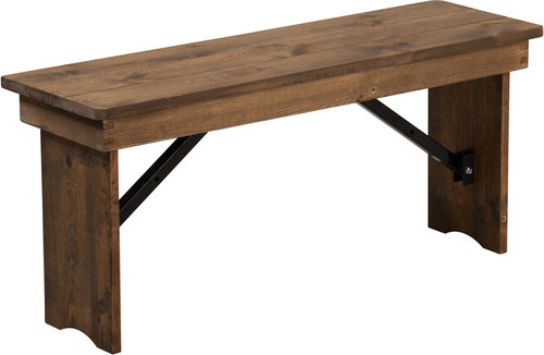 TYCOON Series 40'' x 12'' Antique Rustic Solid Pine Folding Farm Bench