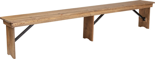 TYCOON Series 8' x 12'' Antique Rustic Solid Pine Folding Farm Bench with 3 Legs