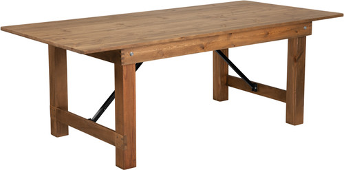 "TYCOON Series 7' x 40"" Rectangular Antique Rustic Solid Pine Folding Farm Table"