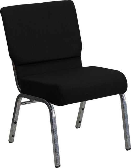 TYCOON Series 21''W Stacking Church Chair in Black Fabric - Silver Vein Frame
