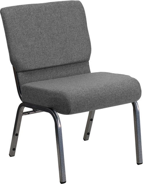 TYCOON Series 21''W Stacking Church Chair in Gray Fabric - Silver Vein Frame