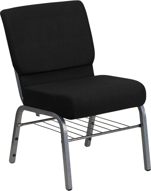 TYCOON Series 21''W Church Chair in Black Fabric with Book Rack - Silver Vein Frame