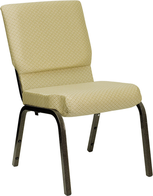 TYCOON Series 18.5''W Stacking Church Chair in Beige Patterned Fabric - Gold Vein Frame