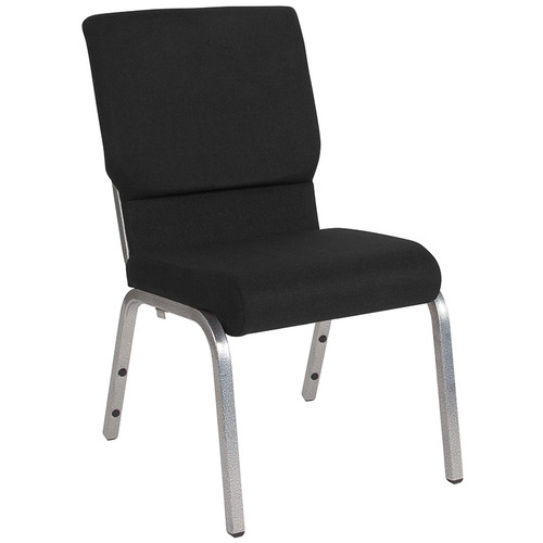 TYCOON Series 18.5''W Stacking Church Chair in Black Fabric - Silver Vein Frame