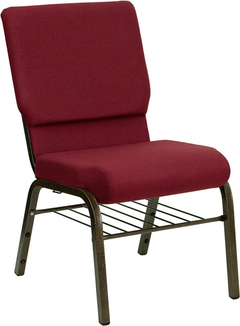 TYCOON Series 18.5''W Church Chair in Burgundy Fabric with Book Rack - Gold Vein Frame