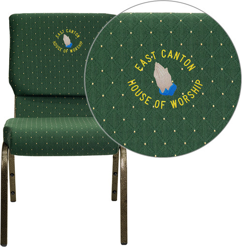 Embroidered TYCOON Series 18.5''W Stacking Church Chair in Green Patterned Fabric - Gold Vein Frame
