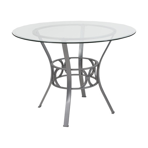 Carlisle 42'' Round Glass Dining Table with Silver Metal Frame